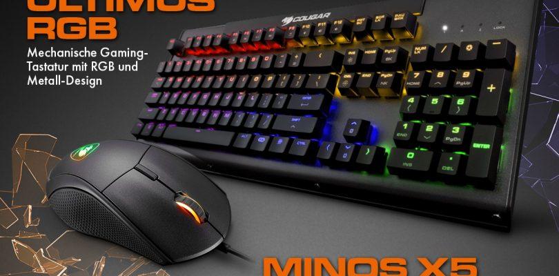 Neu von Cougar – Die mechanische Tastatur Ultimus RGB mit LED-Beleuchtung und die Minos X5 Gaming-Maus